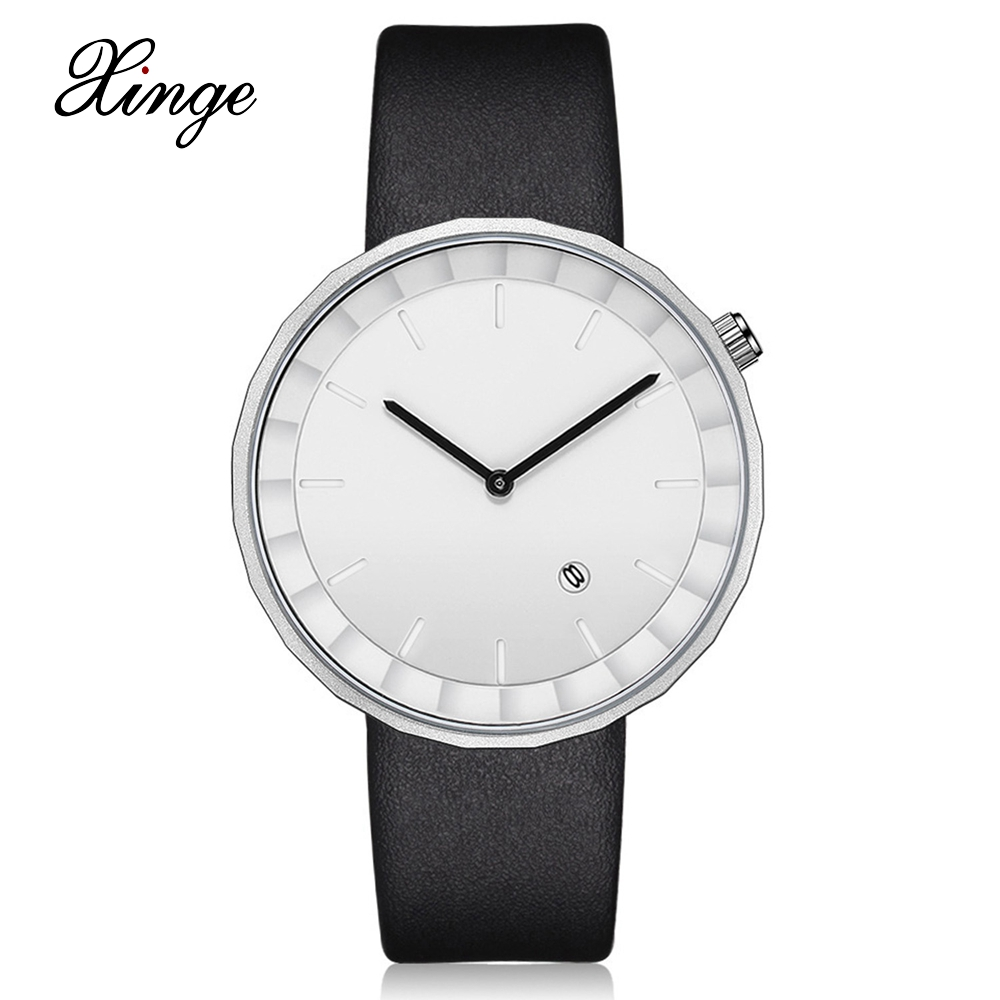 Xinge Brand 2017 New Arrival Trendy Simple Men Watches Fashion Business Leather Strap Sport Vintage Style Male Clock XG1048 2017 men xinge brand business simple quartz watches luxury casual leather strap clock dress male vintage style watch xg1087