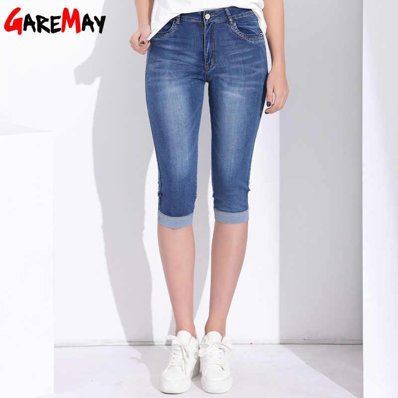 eaa546db218 ... Джинсовые Капри обтягивающие джинсы женские стрейч с высокой талией  джинсы плюс размер короткие джинсовые брюки для ...