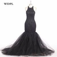 Evening Dresses 2018 Custom Made Evening Gowns Black Formal Lace Evening Gown Beaded Tulle Robe De Soiree Vestido De Festa Longo