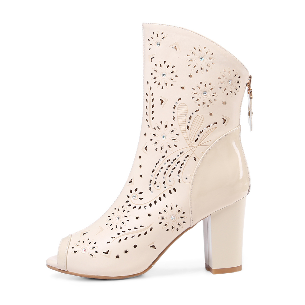 Sarairis Sólido Cuero Tacones Genuino Otoño Mujer Toe Cuadrado Nuevo Botas Peep Beige Hueco Primavera Zapatos Casual blanco Zip Altos qtgCqwrx5