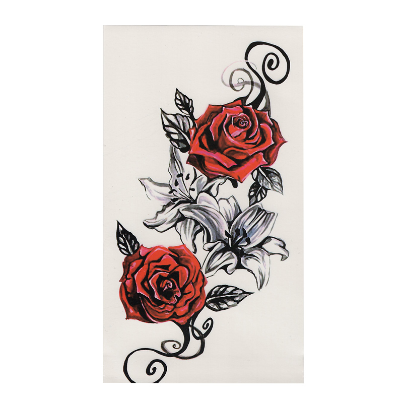 1pcs Watercolor Red Roses Flower Henna Temporary Tattoo Black Mehndi