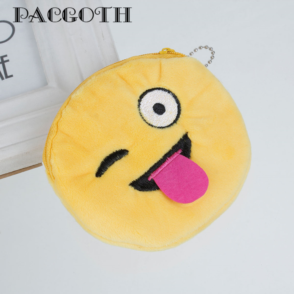 PACGOTH 2017 Hot Kawaii Emoji Coin Purses Key Wallets for Girls Boys Zipper Mini Coin Pocket Money Bags Pouch 8 Styles 10cm Dia pacgoth creative pvc waterproof cute carton candy color purse dessert donuts summer sweet hearts zipper coin purses money bag