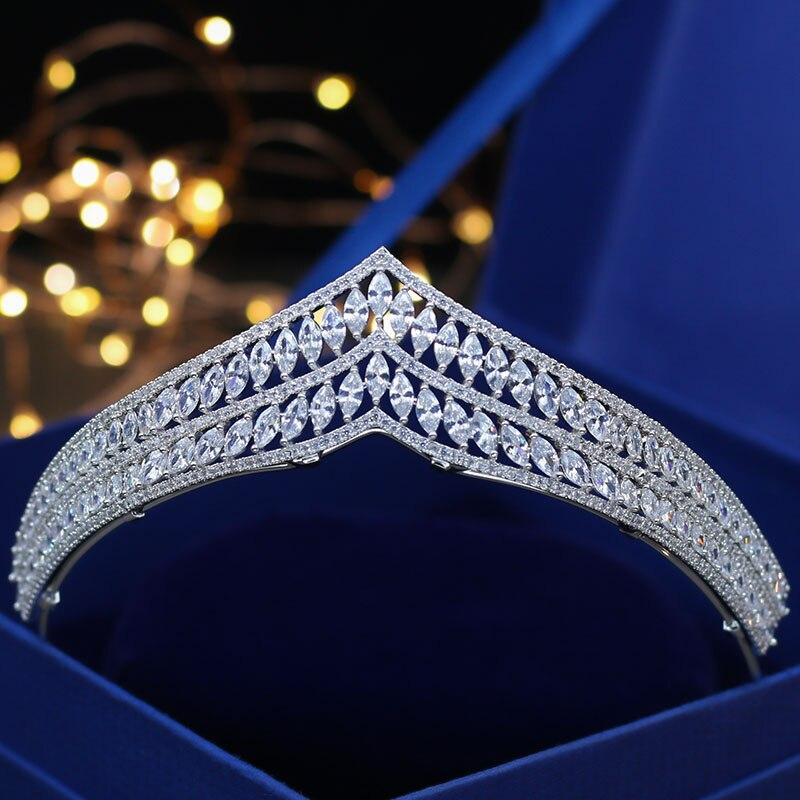 все цены на Jonnafe Bridal Hair Accessories Full Zircon Wedding Tiara Crown Women Evening Prom Headpiece Jewelry