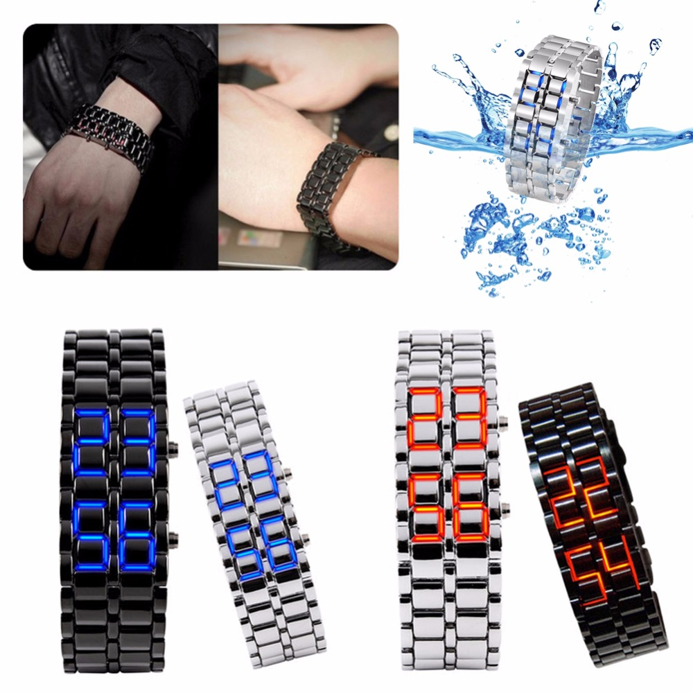 Women's Men's Volcanic Lava Iron Samurai Metal Faceless Bracelet Sport LED Watch title=