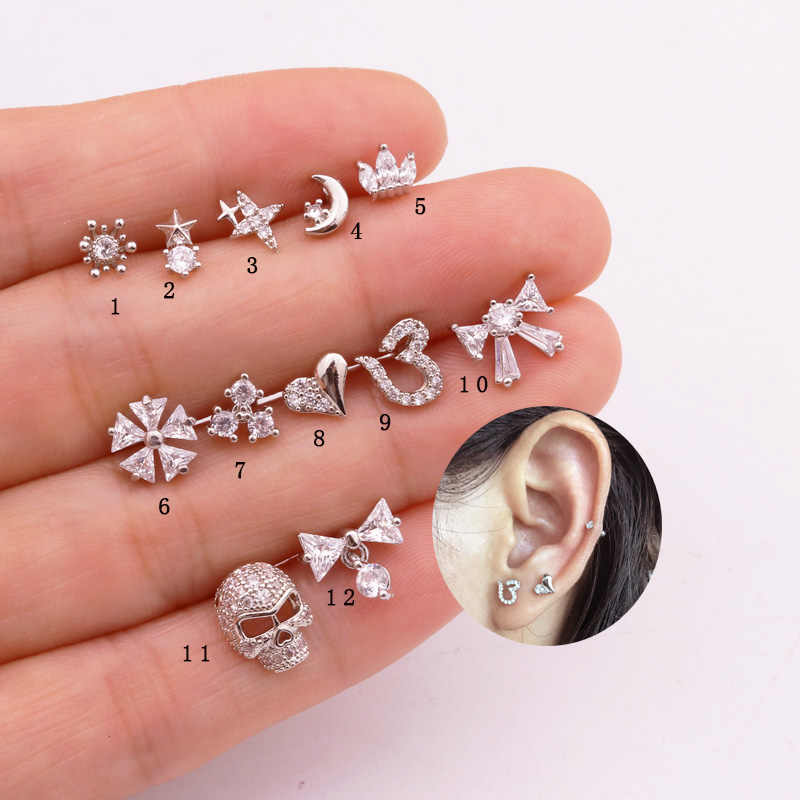 Sellsets 1 Piece 20g Steel Barbell Star Heart Bow Skull Skeleton CZ Piercing  Women Helix Tragus Cartilage Rook Lobe Studs