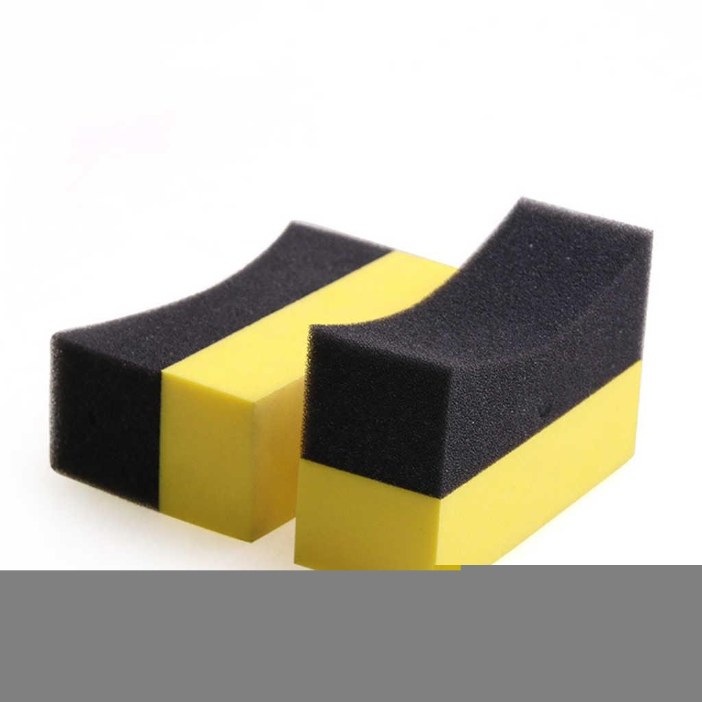 Almohadillas aplicadoras para Contorno de neumático, 6 uds., esponja de cera para pulido de Color brillante