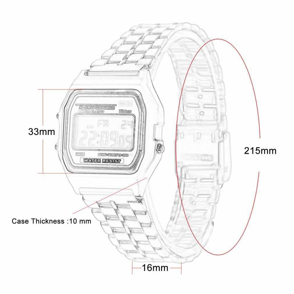 LED dijital paslanmaz çelik kayış Alarm kol saati Ultra ince kadın iş çocuklar çocuklar için erkek erkek spor seyahat hediyeler