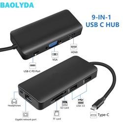 Baolyda USB 3.1 typu C Hub 9 w 1 typu C do HDMI piasta Thunderbolt HDMI 4 K VAG Gigabit LAN stacja dokująca dla Macbook Pro|Adapter typu C|   -