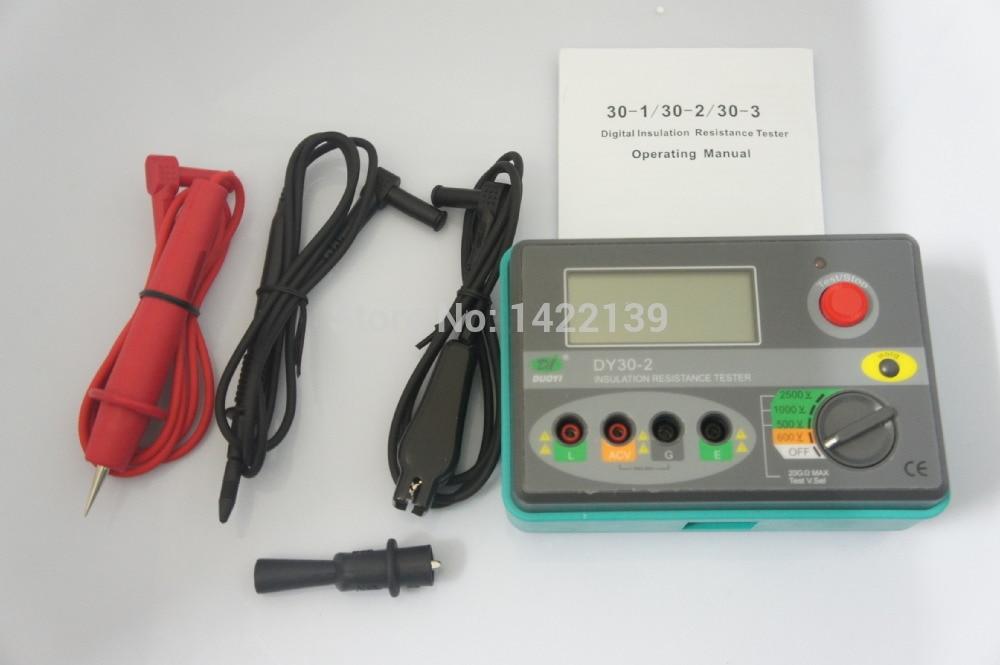 Digital Insulation Resistance Tester Megger MegOhm Meter 2500V 0 ~ 20G Ohm DY30-2  500 v 1000v 2500v digital insulation resistance tester megger megohm testing meter lcd display