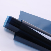 1.52x10m Dark Blue Window Film Solar Tint Window Sticker With Glue Glass Film Home Decor Decoraion 60''x33ft