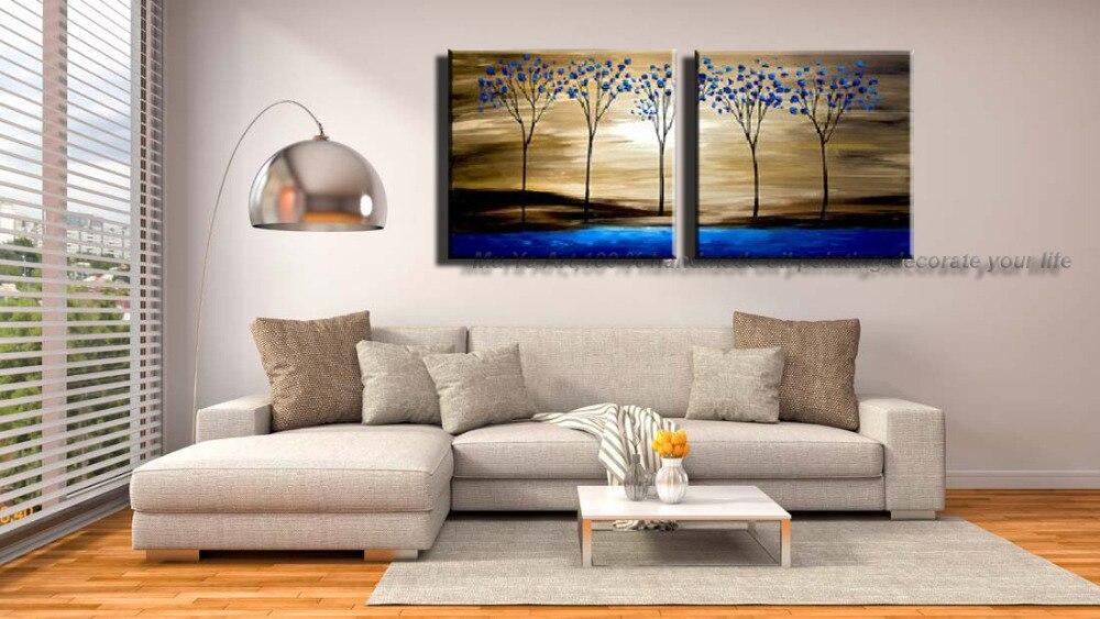 Muti decoratieve panelen blauw boom tableaux peints la main