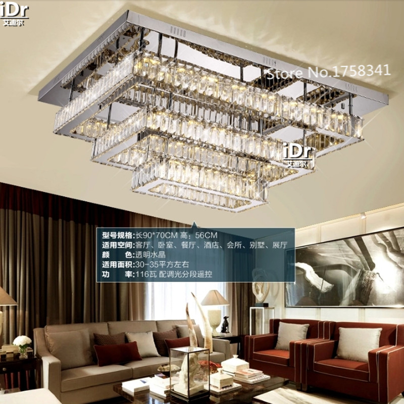 Rectangular Crystal Lamp Shades Varying Light Led Ceiling Lights Stylish Modern Living Room Restaurant Lamps In From Lighting