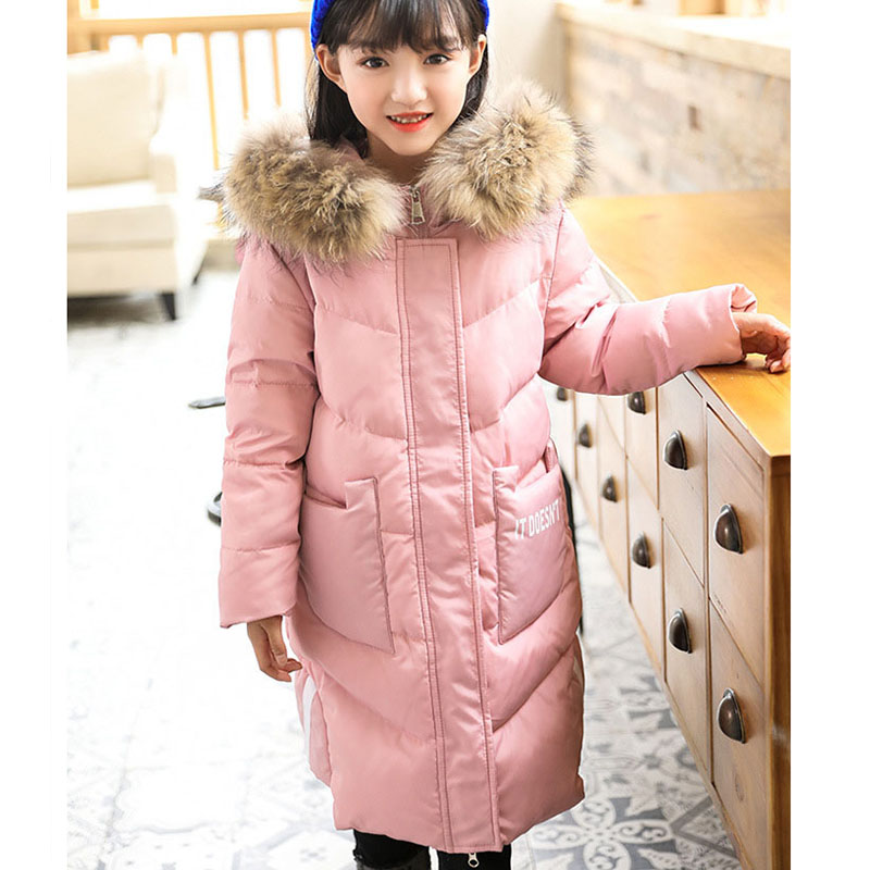 Christmas new girls winter jackets hooded coats 2017 long white duck down kids winter outerwear pink red black children clothing buenos ninos thick winter children jackets girls boys coats hooded raccoon fur collar kids outerwear duck down padded snowsuit