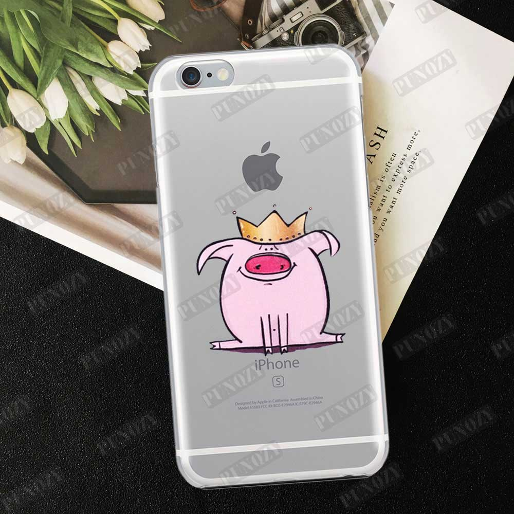 Cartoon Cute pink Pig art gifts Phone Case For iphone 11 pro max 6 6S 7 8 Plus 5 5S 4S X XR XS MAX TPU Silicone Case