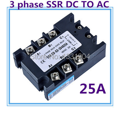 Three phase solid state relay DC to AC SSR-3P-25 DA 25A SSR relay input DC 3-32V output AC480V dc to ac ssr h150zf 150a ssr relay input dc 3 32v output ac660v industrial solid state relay