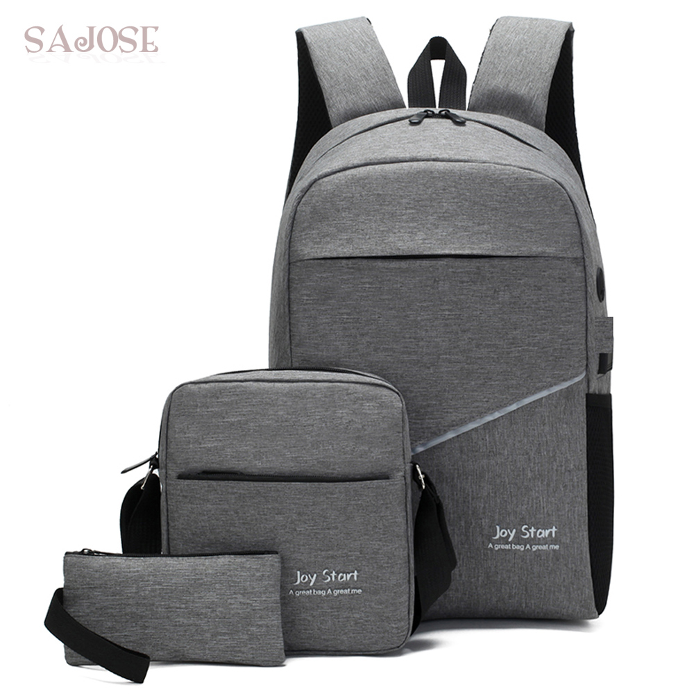 USB Charging Backpack 3 Pcs/set Unisex Oxford School Backpack For Teenage Fashion Student Shoulder Bag Casual Compound Backbag
