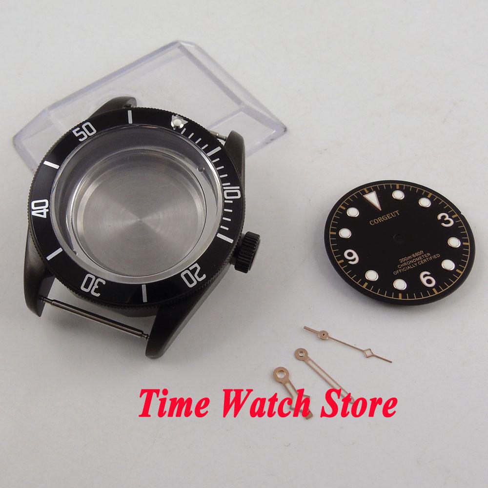 Fit ETA 2824 2836 MIYOTA 82 series movement 41mm sapphire glass Black PVD watch case +dial+hands C123 41mm pvd black steel case dial hands luminous set for eta 2824 2836 miyota 8215 movement