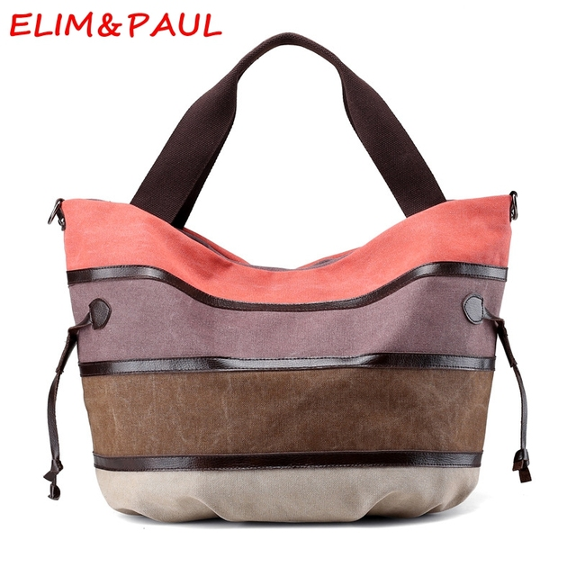 32d8217ca6 ELIM PAUL Canvas Bag Woman Hand bags Designers Brand Luxury Handbags Women  Bags Designer Striped High Quality Ladies Hand bags
