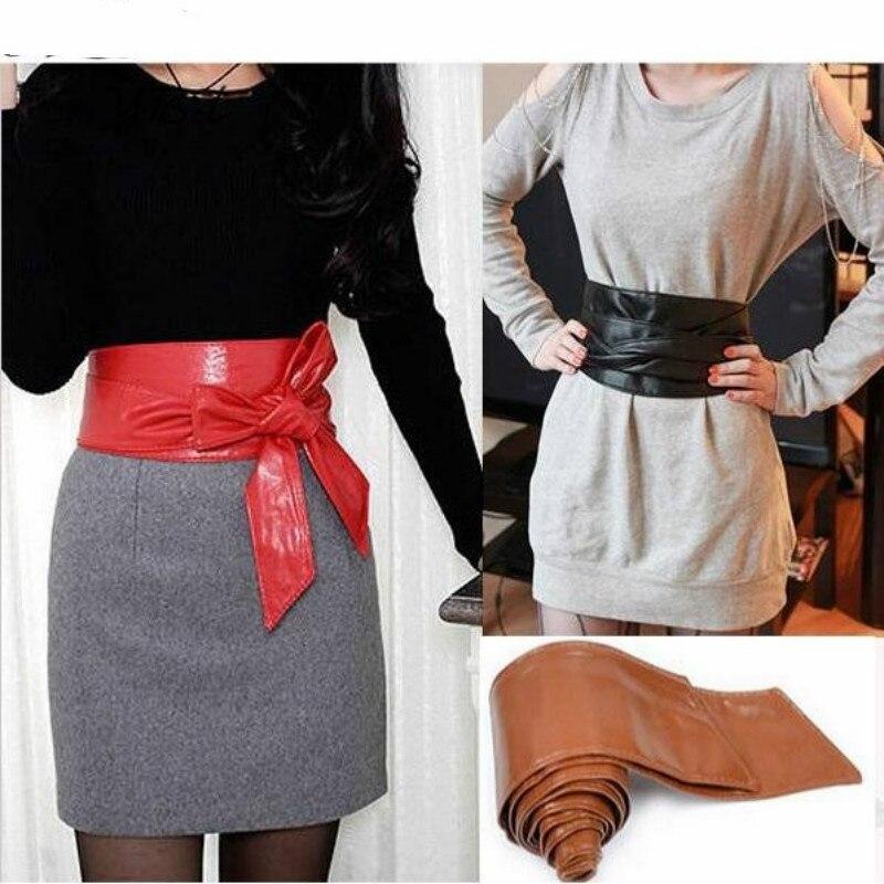 Fashion Elegant Lady Bowknot Bind Wide Belts For Women Waistband Waist Belt Long Circle Cummerbund For Female Diy Cross Tie