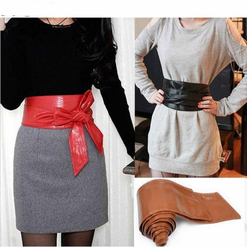 Fashion Elegant Lady Bowknot Bind Wide   Belts   for Women Waistband Waist   Belt   Long Circle Cummerbund for Female Diy Cross Tie