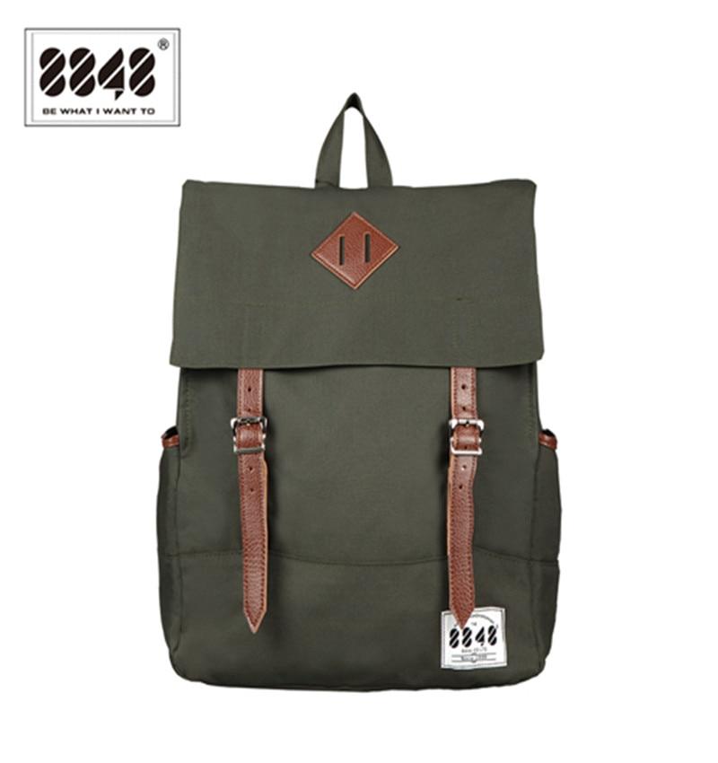 8848 Männer Rucksäcke Amy Green Casual Taschen 100% Polyester Kostenloser Versand Rucksack Solide Einfache Muster Laptop Schultasche D002-7