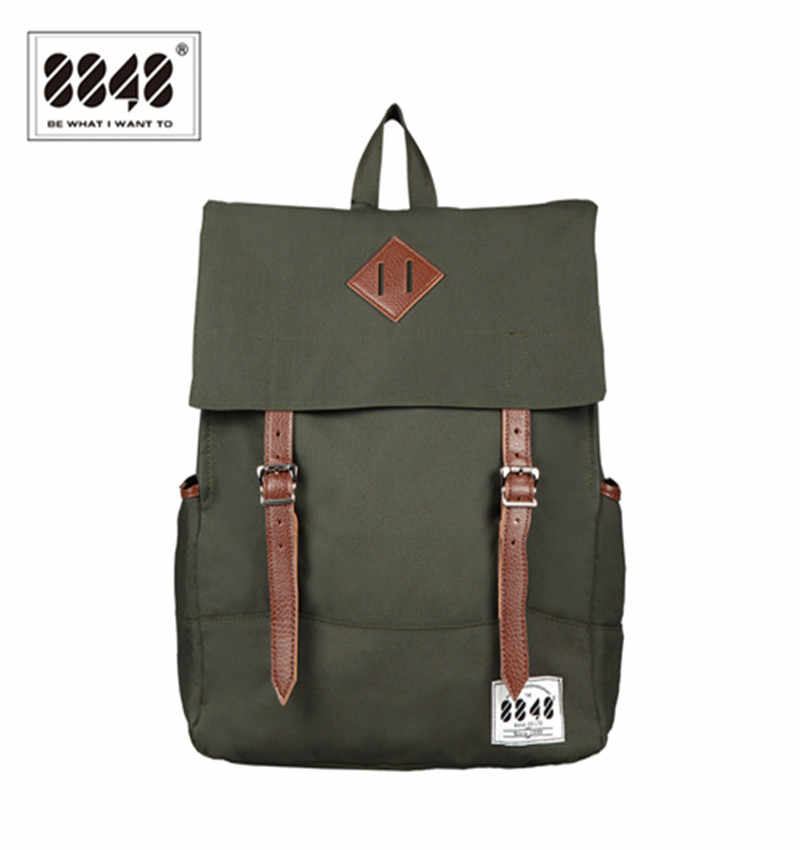 8848 erkek sırt çantaları Amy yeşil rahat çanta % 100% Polyester ücretsiz kargo sırt çantası katı basit desen Laptop okul çantası D002-7