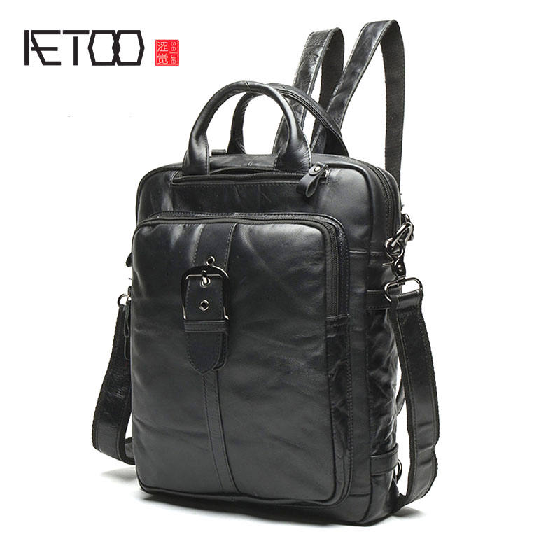 AETOO New men bag shoulder bag male Korean version of the first layer of leather students backpack retro men multi-functional Me aetoo first layer of leather shoulder bag female bag korean version of the school wind simple wild casual elephant pattern durab