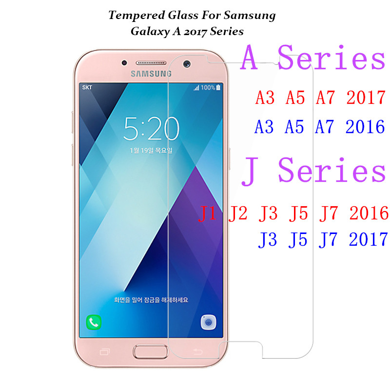 Tempered Glass For Samsung Galaxy A3 A5 A7 2017 A320 A520 A310 A510 J1 J3 J5 J7 2016 J120 J510 Screen Protector Protective Film