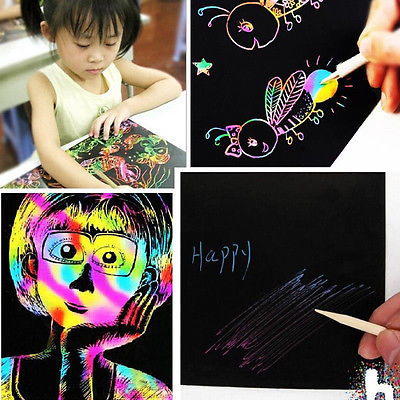 2017 New Arrive 10 Sheets 16K Colorful Scratch Art Paper Magic Painting Paper Plus Drawing Stick