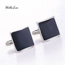 High Quality Classic Luxury Custom Silver Black Enamel Square Cufflinks For Men Women Simple Style Business Shirt Cuff Button cheap Tie Clips Cufflinks Fashion Cuff Links C024018 Simulated-pearl Zinc Alloy Casual Sporty Metal Anniversary Engagement Gift Party Wedding