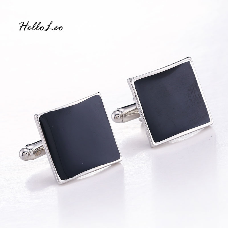 High Quality Classic Luxury Custom Silver Black Enamel Square Cufflinks For Men Women Simple Style Business Shirt Cuff Button
