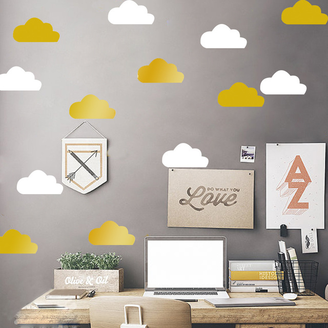 Little Gold Cloud Wall Decal Stickers Kids Room Decor, Removable White Cloud  Vinyl Wall Decals