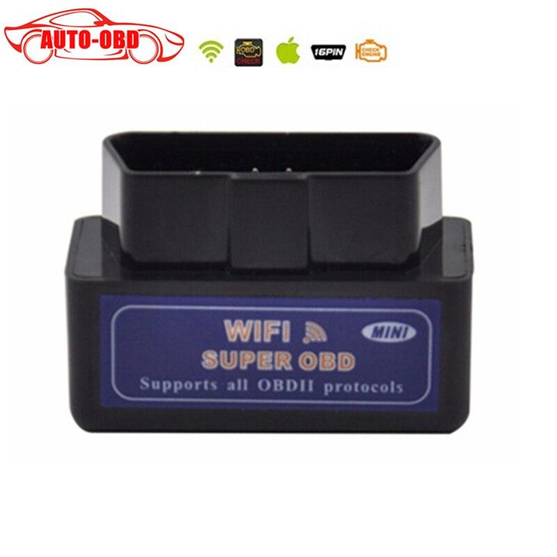 Prix pour V1.5 version Noir Version mini ELM327 wifi OBD2 Diagnostique Automatique Scanner ELM 327 OBDII voiture Testeur Outil Livraison gratuite
