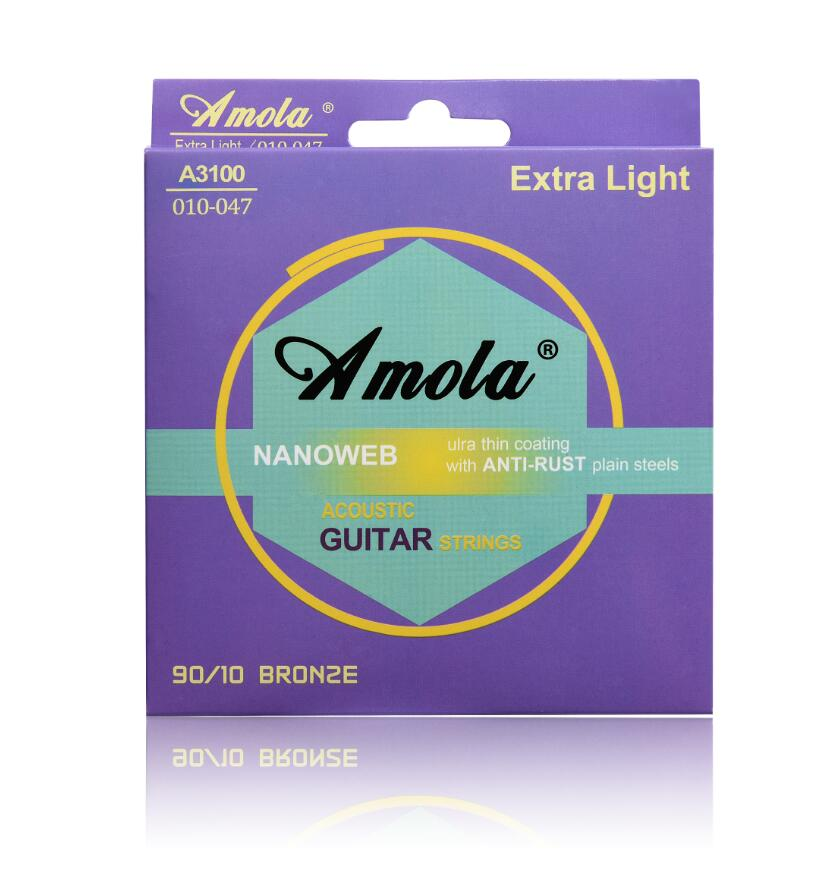 Acoustic Guitar String Steels Amola Nanoweb Strings 010 011 012 Wound Guitar 1 S