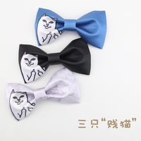 JEMYGINS Animal Cat England British College Wind Original Design Printing New Man Young People Male Neck Tie Party Student Meet
