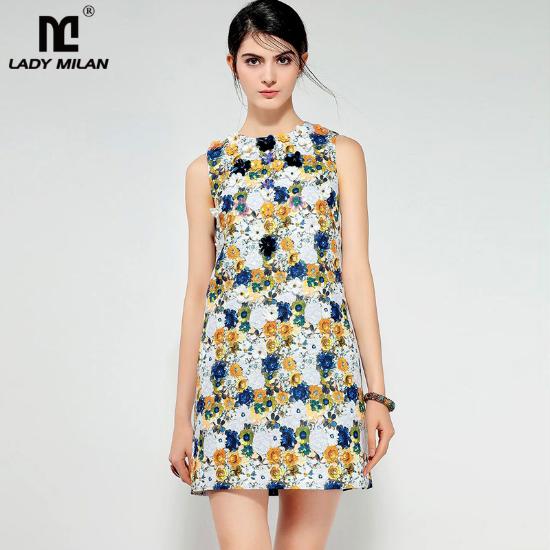 New Arrival 2018 Womens O Neck Sleeveless Printed Floral Appliques A Line Designer Fashion Runway Dresses