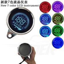 Universal Chrome Motorbike Instrument 7 color Display Oil Level Meter LCD Gauge Tachometer Motorcycle Digital Speedometer