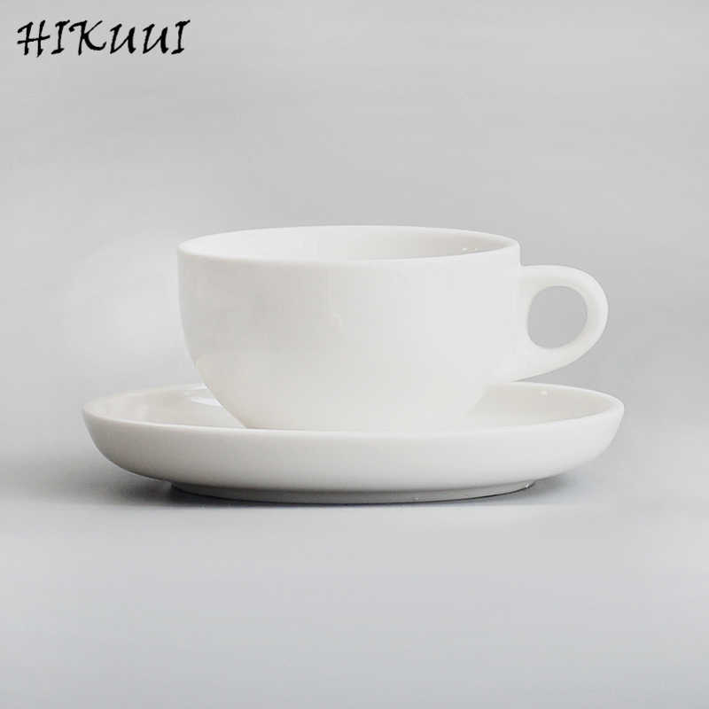 92377424967 Hikuui Ceramic Cappuccino Cup Classical Round White Porcelain Coffee Mug  With Tray European Style Milk Coffee Tea Cup Nice Gifts