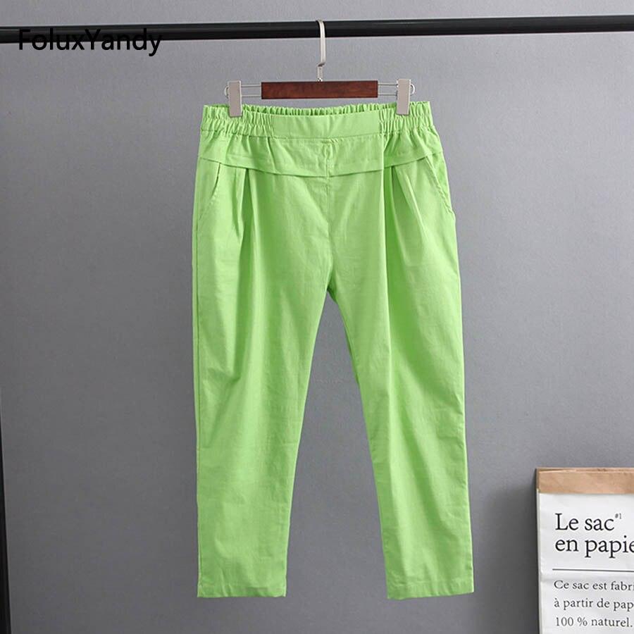 6 Colors Stretched Summer Pants Women Plus Size Cotton and Linen Loose Casual Pencil Pants Capri KKFY1742