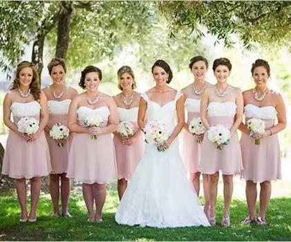 robe demoiselle d'honneur rose/blanche bustier coeur