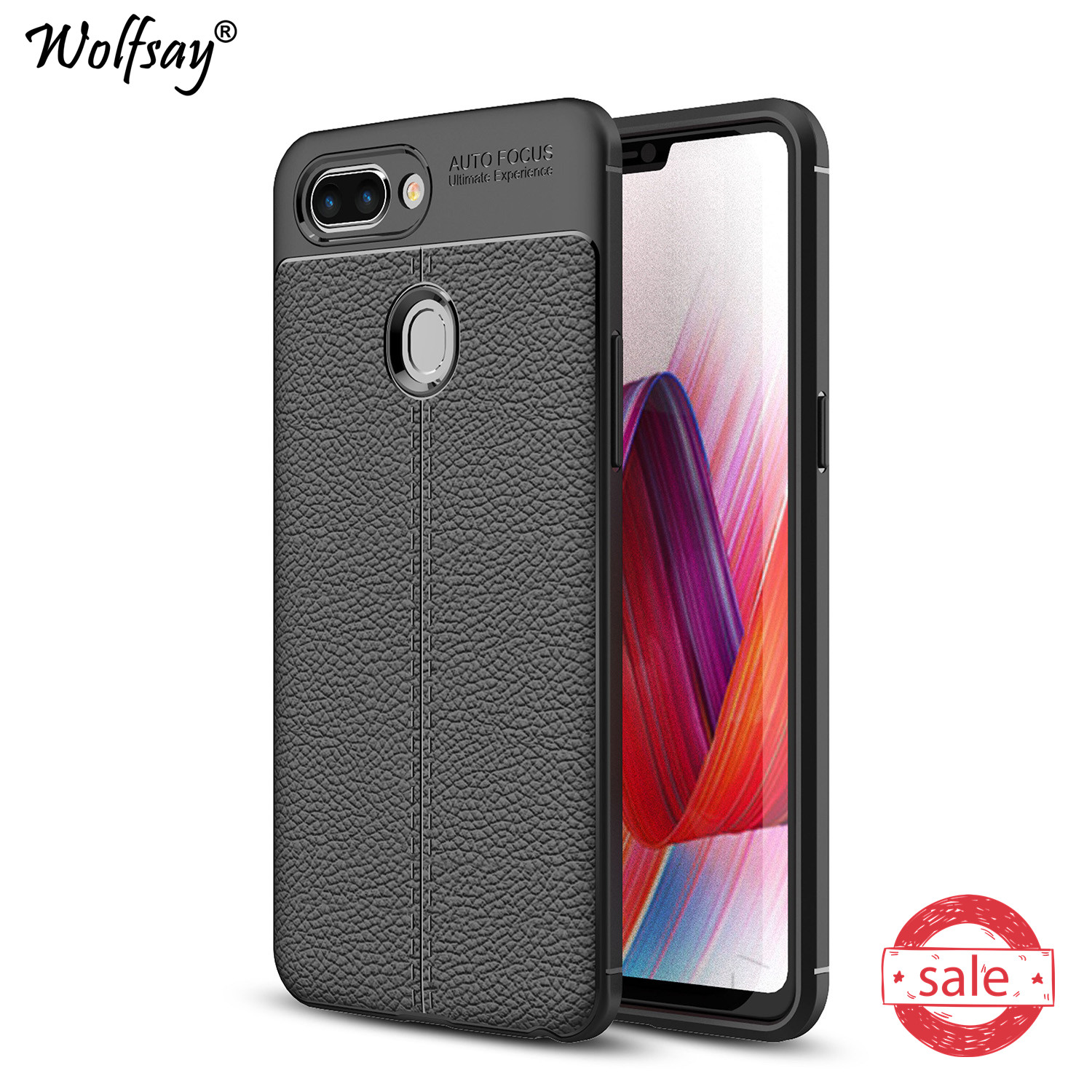 Phone Case OPPO R15 Cover OPPO R 15 r15 Litchi Pattern Case Soft Silicone Wolfsay Case for OPPO R15 Cover OPPO R15 Fundas 6.28