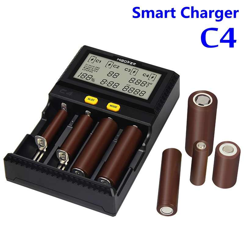 Оригинальный Miboxer C4 ЖК-дисплей Смарт Батарея Зарядное устройство для батарей Li-Ion (литий-ионных батарей IMR INR ICR LiFePO4 18650 14500 26650 16340 AAA батарейки типа АА 100-1500mA