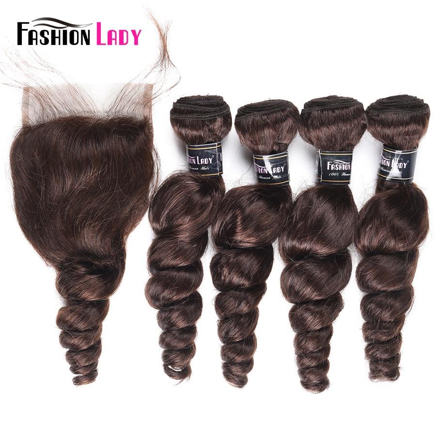 Fashion Lady Pre-Colored Brazilian Hair Loose Wave Bundles With Closure 4 Bundles 2# Dark Brown Bundles With Closure Non-Remy