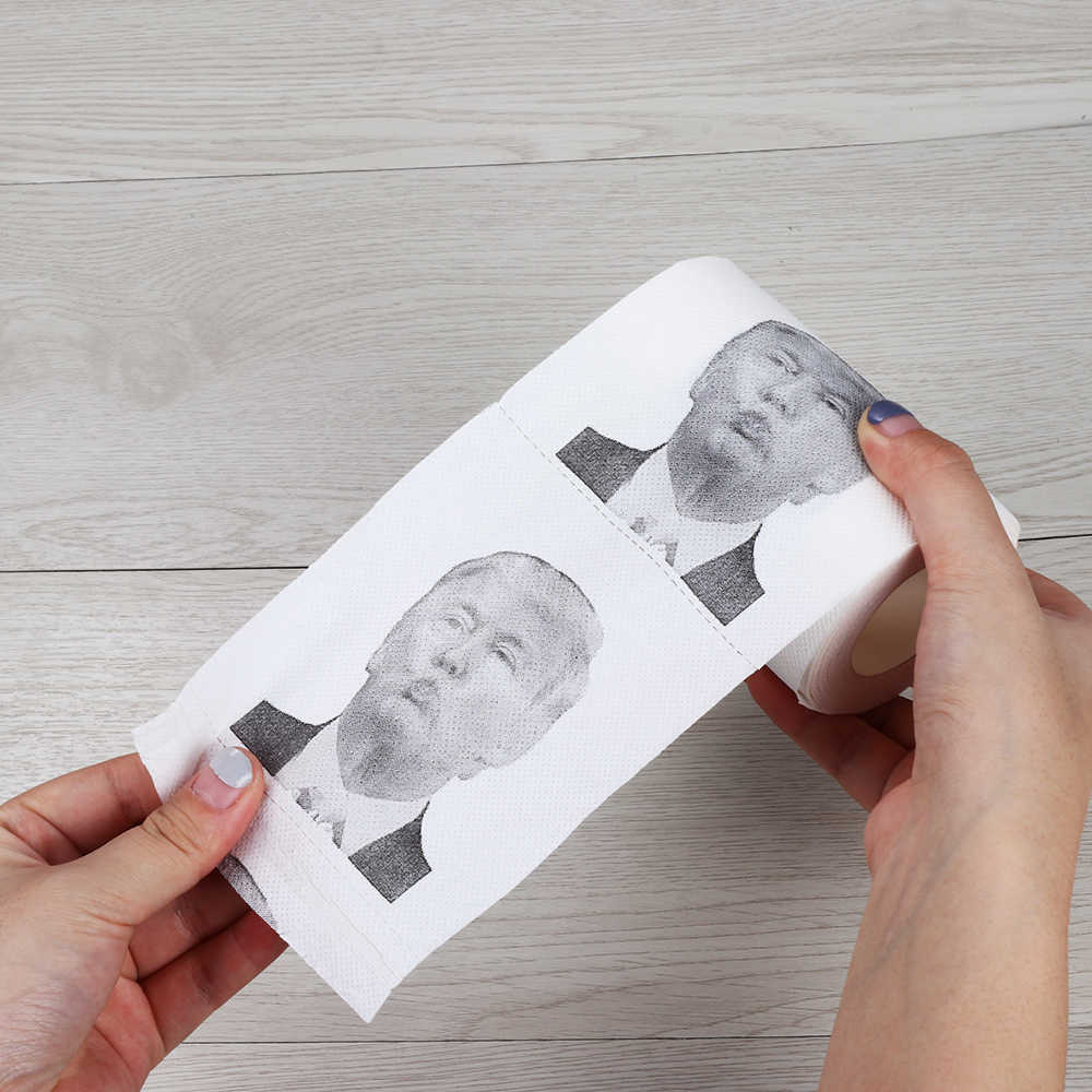 100 г забавная туалетная бумага ролл Дональд Трамп хумур печать туалетной бумаги рулон Новинка Забавный поцелуй подарок Шуточный розыгрыш бумажная салфетка
