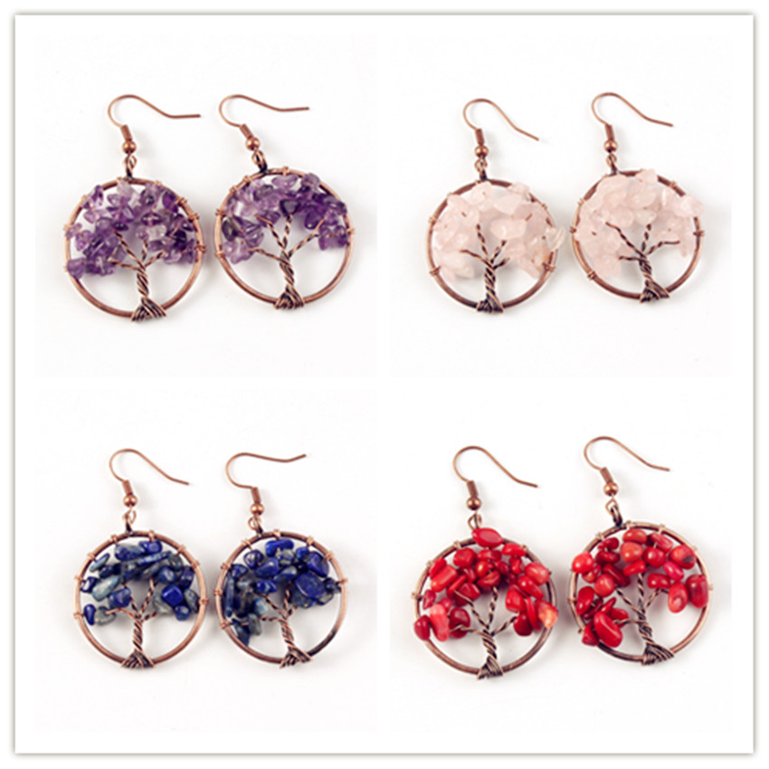 Trendy-beads Ethnic Copper Wire Wrap Tree of Life Many Style Stone Dangle Earrings For Women Plant Jewelry