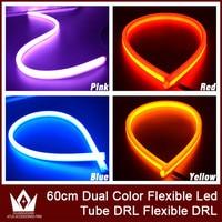 2PCS 60cm Car White Amber Dual Color Flexible Tube Lamp Switchback LED Headlight Strip White Yellow