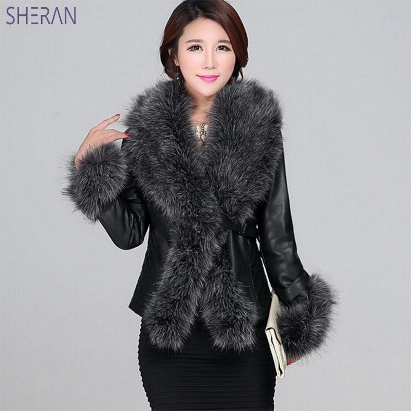 Careful 2018 Faux Fur Coat Imitation Sheepskin Slim Models Jackets Leather Grass Fox Fur Collar Long Sleeve Jackets For Woman Clothes Women's Clothing