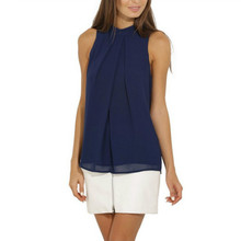 Summer Fashion Women Solid Color Blouses Chiffon Sleeveless Shirts  Tops