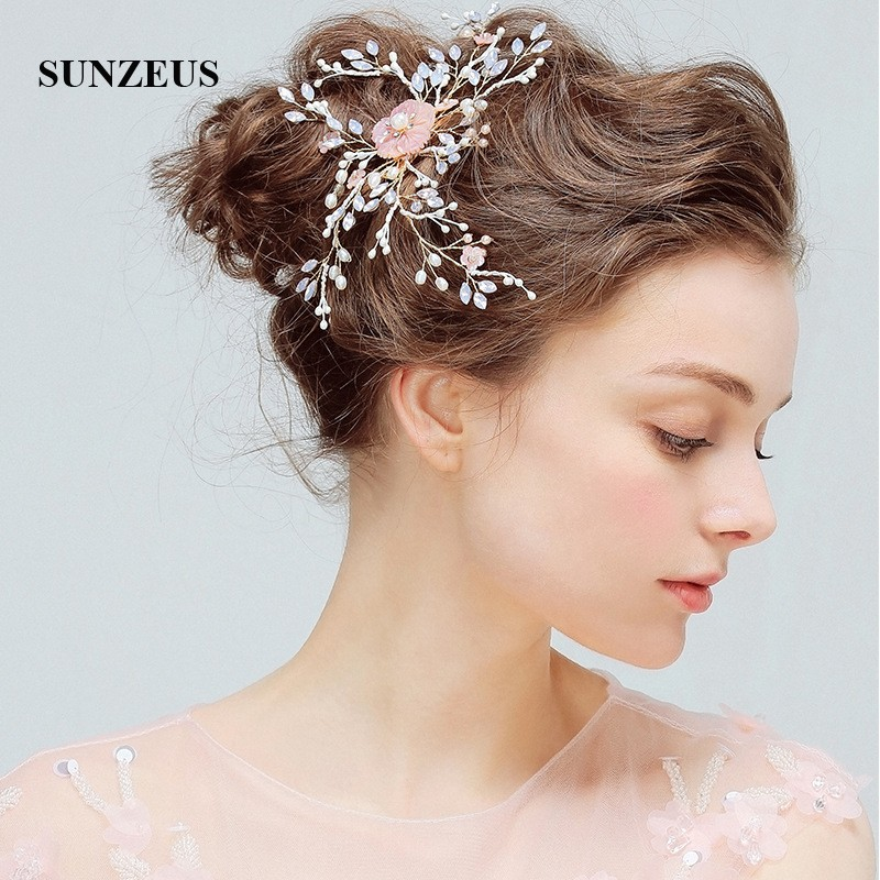 Pearls Flower Sharp Headband for Women Crystals Shiny Wedding Accessories for Hair Girls Hair Decoration Hair Clips SHA36