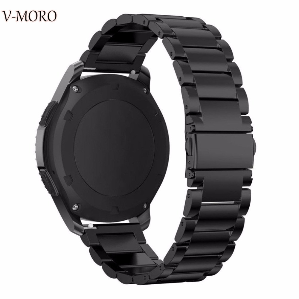 V-moro Black Stainless Steel Gear S3 Bands 22mm Strap Replacement Smart Watch Band For Bracelet Samsung Gear S3 GearS3 Straps silicone rubber watch band strap replacement smartwatch bands link bracelet for samsung galaxy gear s2 sm r720 black blue red
